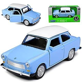 Welly Trabant 601 Limousine Blau mit Weißem Dach ca 1/43 1/36-1/46 Modell Auto mit individiuellem Wunschkennzeichen
