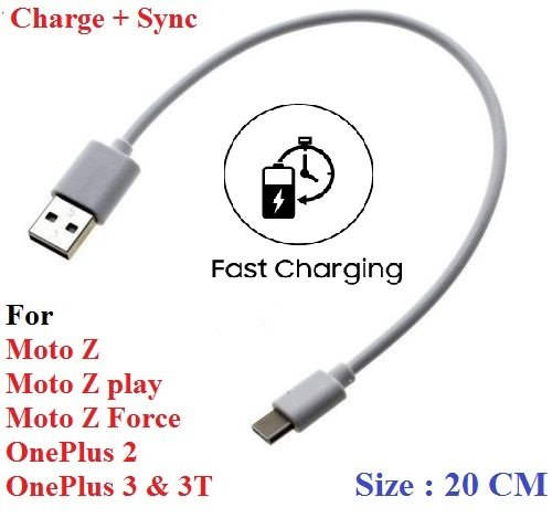ST Creation New Short Length High Quality Type C to USB Faster Charging with Data Sync Power bank Cable For OnePlus 2, onePlus 3, OnePlus 3T, OnePlus 5, Motorola Moto Z , Moto Z Play, Moto Z Force(Type C to USB)
