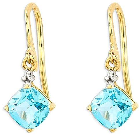 IceCarats 14k Yellow Gold Blue Topaz Diamond Drop Dangle Chandelier Earrings