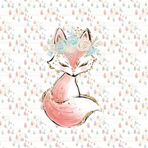 Herz Stoffe Österreich: 1 Sommersweat/French Terry - Boho Panel - 40x50cm - süßes Fuchs Mädchen mit Blumenkranz auf Regentropfen - beige Gold rosa Mint türkis - Einzelmotiv Digital Ökotex