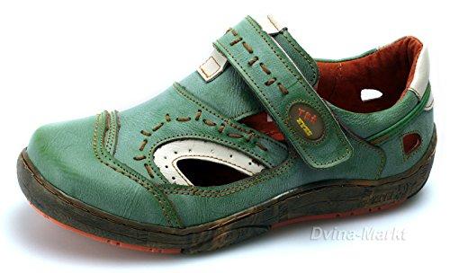 TMA Damen Freizeit Schuhe Echtleder Halbschuhe Sandalen 1370 Grün