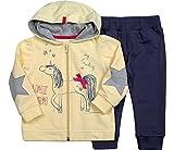 Be Mammy Mädchen Set Sweatshirt und Hose Unicorn 7302 (Gelb/Dunkelblau, 62)