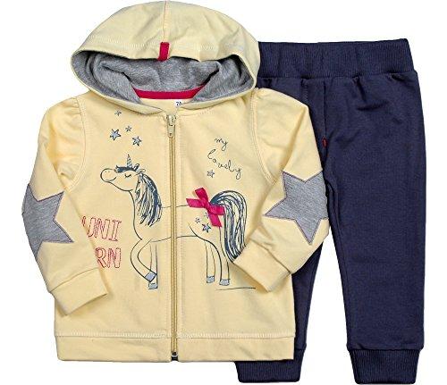 Be Mammy Be Mammy Mädchen Set Sweatshirt und Hose Unicorn 7302 (Gelb/Dunkelblau, 62)