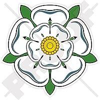 "WHITE ROSE of YORK Flower YORKSHIRE England UK 100mm (4"") Vinyl Bumper Sticker, Decal"