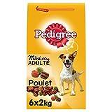 PEDIGREE - Spécial Mini Chiens <10kg - Au Poulet, aux Légumes et au Riz - Lot de 6 sac de 2 Kg