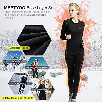 MEETYOO Women's Thermal Underwear Set, Ultra Soft Base Layer for Ladies, Fleece Lined Long Johns Sport Top&Leggings Set for Running Skiing Cycling Workout 7