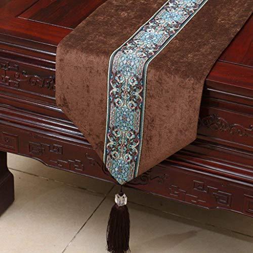 GZ Kurze braune Blumenmuster Tuch Tischläufer Moderne einfache Mode gehobenen Wohnzimmer Küche Restaurant Hotel Heimtextilien,33 * 180 cm