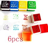6pcs Schule Lehrer Familien Stempel Aufkleber Selbstfärbestempels Lob Belohnung Briefmarken