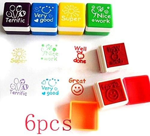 HENGSONG 6pcs Schule Lehrer Familien Stempel Aufkleber Selbstfärbestempels Lob Belohnung Briefmarken