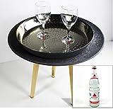 Livarno living SERVIERTISCH + TABLETT + 2 APOLLINARIS Wasser GLÄSER Beton Optik Couchtisch ~ds2+