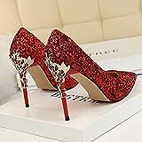 Xue Qiqi Leder Silber Spitze des high-heel Schuhe fein mit Farbverlauf einzelne Schuhe weiblichen goldenen Hochzeit Schuhe, 37, Rot