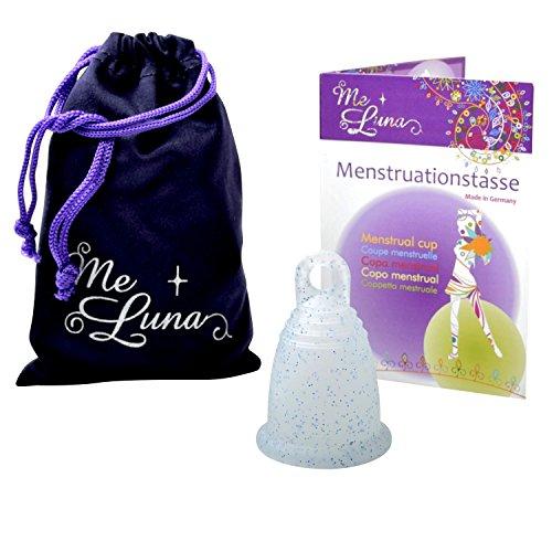 Me Luna Menstruationstasse Classic, Ring, Blau-Glitter, Größe M