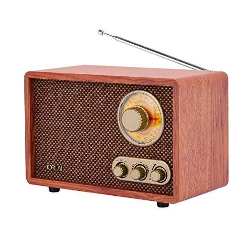 Jorlai AM/FM Retro Holzradio mit Bluetooth-Funktion, integrierter Teleskopantenne, einstellbare Klangregelung für Tief- und Hochton