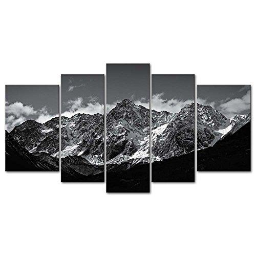So Crazy Art Leinwandbild, Motiv Giclée, gerahmt, für Wohnzimmer, Dekoration, Schnee, Berge, Fotoprints auf Leinwand, 5-teilig