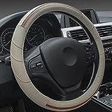 XuanMax Sport Universal Funda de Volante Coche Cuero Genuino Piel Respirable Vehiculo Cubierta del Volante Envoltura Protectora Antideslizante Auto Genuine Leather Steering Wheel Cover 38cm - Beige