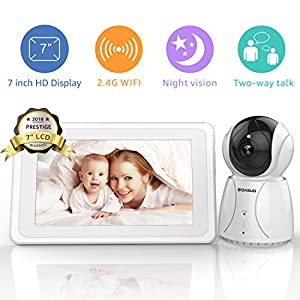 "BIGASUO Video Baby Monitor 2018 with Camera & 720P 7"" HD LCD Digital Screen, Two Way Audio & 5 Baby Lullabies, Sound & Movement Alarm, Night Vision, Wireless Video Baby Monitor BABYMOOV Range: 300 m Two receiving channels Two alarms: Audio and visual 5"