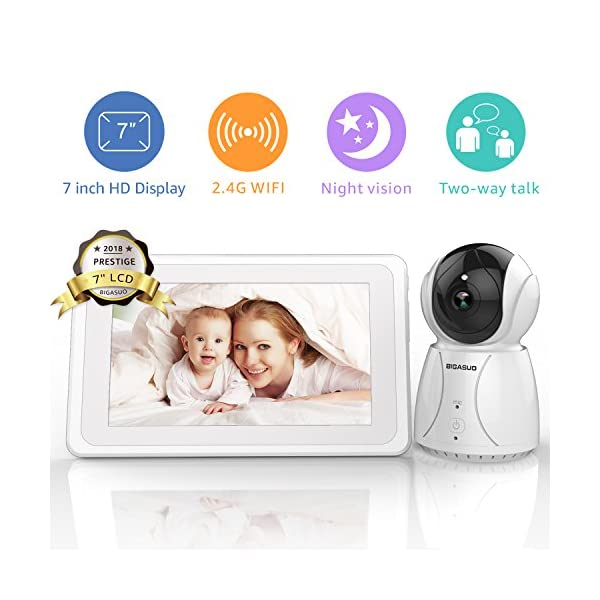 "BIGASUO Video Baby Monitor 2018 with Camera & 720P 7"" HD LCD Digital Screen, Two Way Audio & 5 Baby Lullabies, Sound & Movement Alarm, Night Vision, Wireless Video Baby Monitor BIGASUO 【7'' Large Color LCD Display】The BIGASUO baby monitor offer you the clearest visual experience with the 7'' high-quality LCD HD screen and 2.4G HZ WiFi connection technology. 【5 Built-in Lullabies and Night Vision】Gentle lullabies help baby get into sweet dreams soon. View your baby and the room in low light even dark surroundings. 【Two-way audio communication】You can use the speaker of our baby monitor to talk to your cute baby and hear their replies at any time. 1"