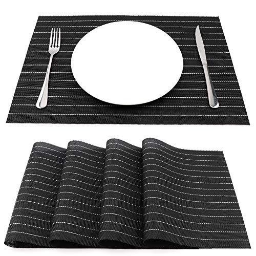 Sueh design tovagliette americane pvc 45 x 30cm set 4 pezzi nero a righe