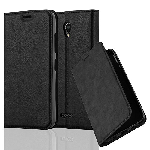Cadorabo Hülle für Lenovo B - Hülle in Nacht SCHWARZ – Handyhülle mit Magnetverschluss, Standfunktion und Kartenfach - Case Cover Schutzhülle Etui Tasche Book Klapp Style