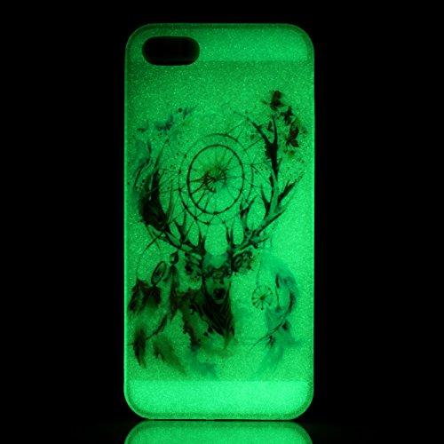 Apple iPhone SE,iPhone 5/5S Silicone TPU en Coque de téléphone , Etsue Nuit Luminous Glow Series Transparent Case Soft Phone Case Cover pour Apple iPhone SE,iPhone 5/5S, [Pissenlit] Motif de Ultra-min Giraffe