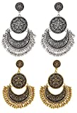 #9: I Jewels Combo of Oxidized Silver & Gold Chandbali Earrings of Fusion Moonshape for Women (E2554CO)