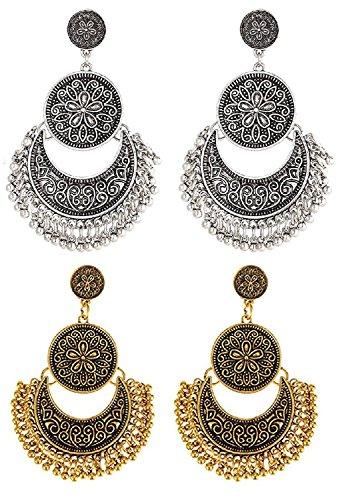 YouBella Fashion Jewellery Oxidised Silver Gold Combo of 2 Stylish Fancy Party Wear Earrings For Women & Girls