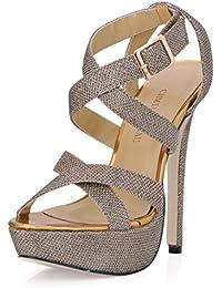 CHMILE Chau-Zapatos para Mujer-Sandalias de Tacon Alto de Aguja-Talón Delgado-Sexy-Novia o Dama-Boda-Nupcial-Vestido de Fiesta-Correa de…