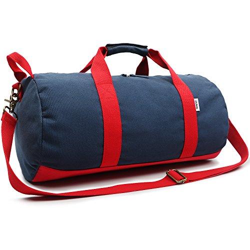 Kleine Reisetasche für Männer und Damen - Sporttasche Segeltuch Trainingstasche - Travel Duffel Bag & Sports Gym Bag (2.0 Blau)