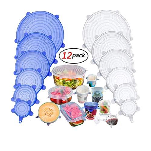 Yungo Tapas de Silicona Elásticas 2 x 6 Paquetes de Varios TamañOs de Fundas para Tazones de Silicona para Conservación de Alimentos, Lavavajillas, Boles o Tarros