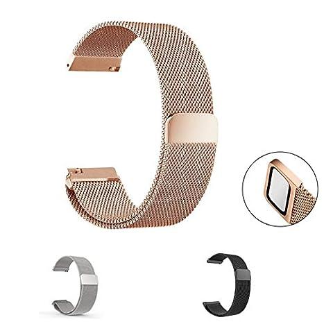 ceston Milanaise Bracelet, universel acier inoxydable Milanaise Loop Bracelet de Montre de Bracelet 18mm, 20mm, 22mm et la sélection de 3couleurs, Rose Golden