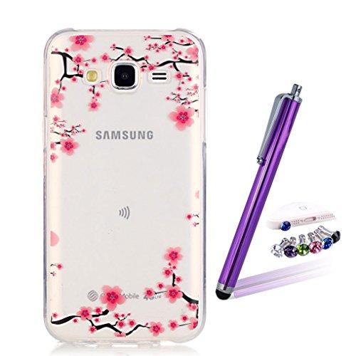 LOOKAY Coque Galaxy J5 2016,Etui Ultra Mince Housse Silicone Transparent pour Samsung Galaxy J5 2016 Coque de Protection en TPU avec Absorption de Choc Bumper et Anti-Scratch, Plume colorée 10HUA