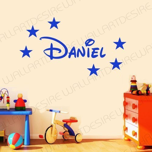 DISNEY STYLE PERSONALISED NAME U0026 STARS BEDROOM VINYL WALL ART DECAL STICKER  14 COLOURS AVAILABLE ***PLEASE MESSAGE US WITH NAME *** (BLUE, 20 CM X 60  CM) Part 78