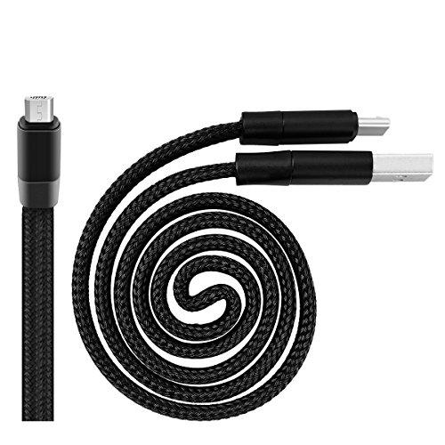 WorCord [Auto Lagerung] Micro USB Kabel 0.6M Datenkabel Kurz Einziehbare Retractable Nylon Geflochten Flexibel Magie Ladekabel für DOOGEE X10, Samsung A3/A5/J5/P10 Lite - Schwarz