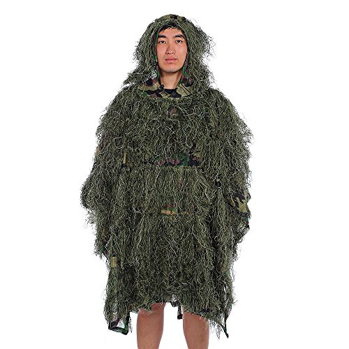 Camouflage Umhang Jungle Poncho Ghillie Suit Set Woodland Sniper Vogelbeobachtung Poncho Yowie Kleidung, Army Green Camouflage (Ghillie Poncho)