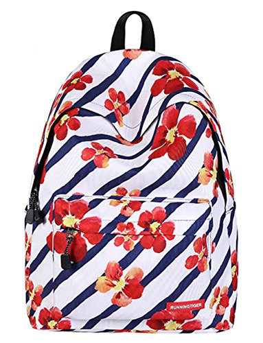 Schultasche für Teenager Leichte beiläufige Daypack Leinwand Tupfen Leichte zufällige Rucksack Laptop-Tasche (Floral5) Floral4
