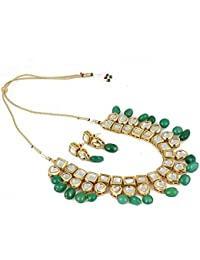 Aradhya Stylish High Quality Green Stone Kundan Necklace Set With Earrings For Women And Girls