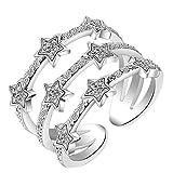 Nikgic Sweet Star Theme Design Ringent Damen Silber Ringe Einstellbare Mädchen Ring Modeschmuck Zubehör Valentines Geschenk (Silber)