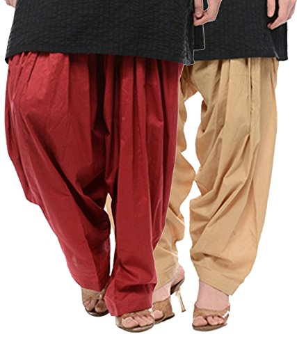NGT Maroon And Beige Pure Cotton Patialas For Womens