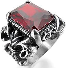 MunkiMix Acero Inoxidable Anillo Ring Cristal Plata Rojo La Flor De Lis Gótico Gothic Hombre