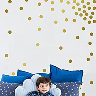 erthome Gold Wall Decal Dots 200 pcs Decals Easy To Peel Easy to Stick + Safe On Painted