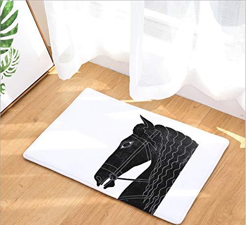 Black Horse Kissen (Black Horse Kopf Pferd Gedruckt Kissen Tür Pad Digitaldruck Pad Bad Küche Bad Lange Wasser Saug Anti-Rutsch-Pad Teppich)