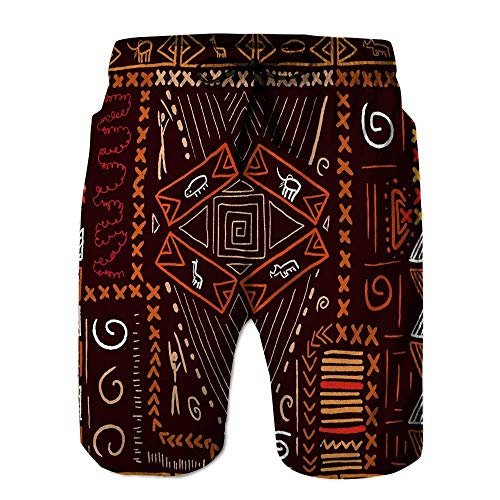 Qfunny Men's Board Short,African Art Pattern Aboriginal Board Shorts Denim Herrenshorts am Strand
