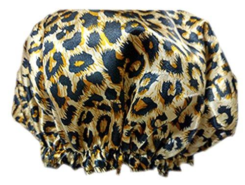 2pcs satin et PVC multifonctionnel double couches de douche, léopard