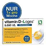 vitamin D-Loges Tabletten Nahrungsergänzung - 60 Gel Tabs, 5.600 I.E, Wochendepot, für die ganze Familie, hochdosiert