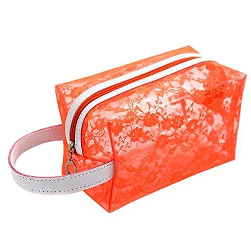 Transparent portables Pochettes de Maquillage Voyage Trousse,Orange
