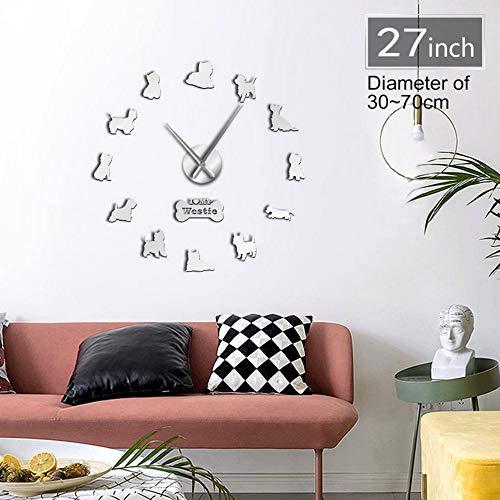 Rjjdd West Highland Terrier Westie Hunderasse Lange Uhr Hand 3D DIY Wanduhr Welpen Tier Selbstklebende Große Acryl Time Clock Watch-47Inch-Schlafzimmer