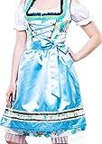 Bavarian Clothes Dirndl Damen Midi Trachtenkleid 7010 mit Bluse und Schürze geblümt 3 teilig- Größe: 54, Türkis/Blau / Grün/Weiss