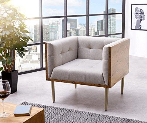DELIFE Relaxsessel Metropolitan Grau 76x73 cm Akazie Natur filigran abgesteppt Sessel