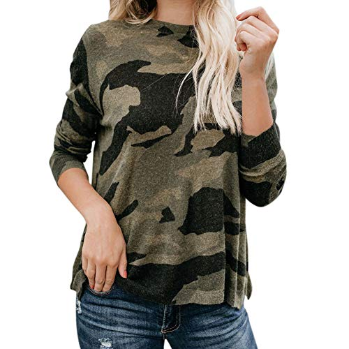 Baywell Damen Pullover Langarm Tarn Hemd Bluse Camouflage Lose Sweatshirt Frühling Herbst Sexy T-Shirt Tops
