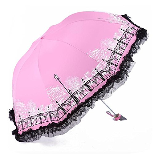HYHAN Regenschirm Fashion Damen Kleine frische UV-Lichtschutz-Wind-Widerstand Regenschirm (Sunny Day oder einem regnerischen Tag verwenden können) , pink
